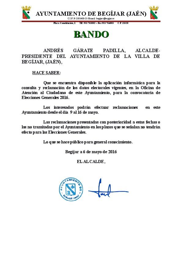 Bando Datos Elecciones 2016